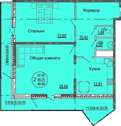 Планировки ЖК Седьмой континент Краснодар | план - 8