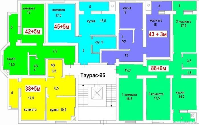 Планировки ЖК Таурас-96 Краснодар | план - 2