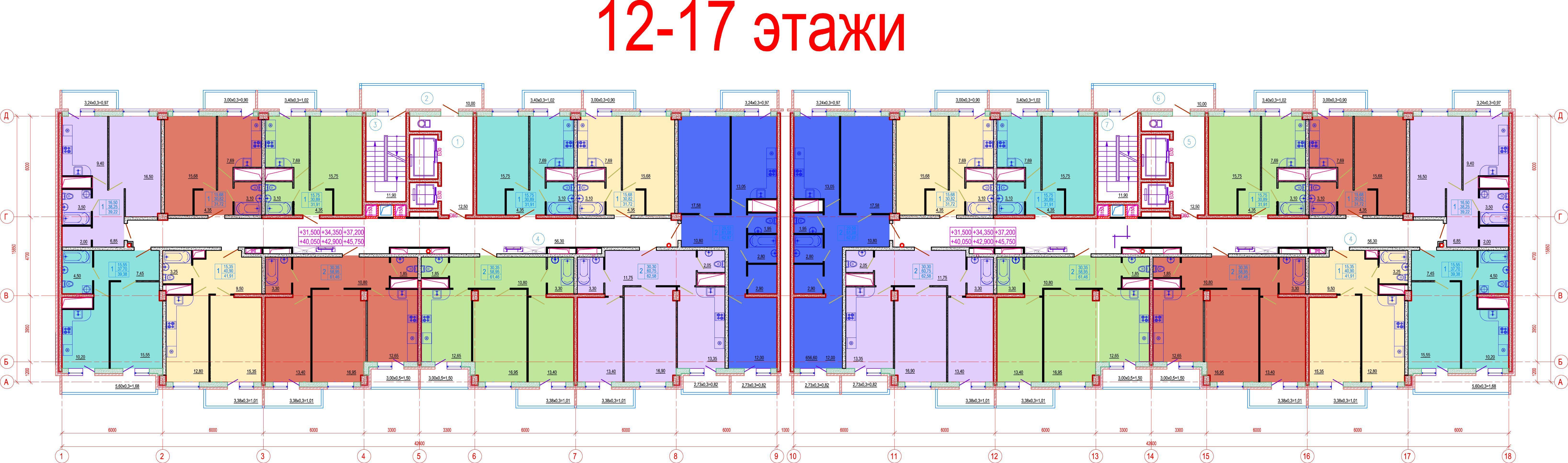 Планировки ЖК Времена года, литер Весна Краснодар | план - 4