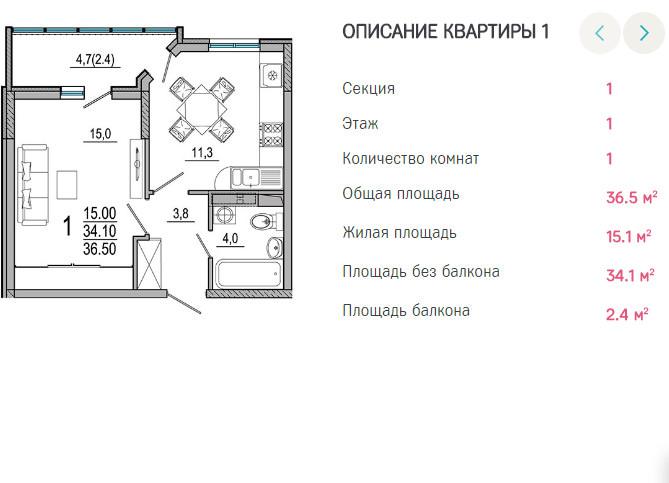 Планировки ЖК Южане Краснодар | план - 1