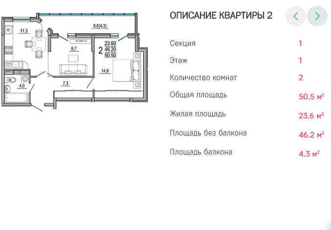 Планировки ЖК Южане Краснодар | план - 2