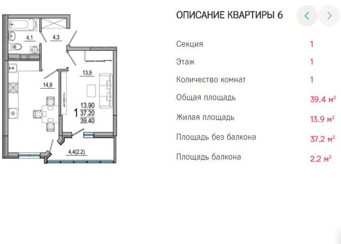 Планировки ЖК Южане Краснодар | план - 6