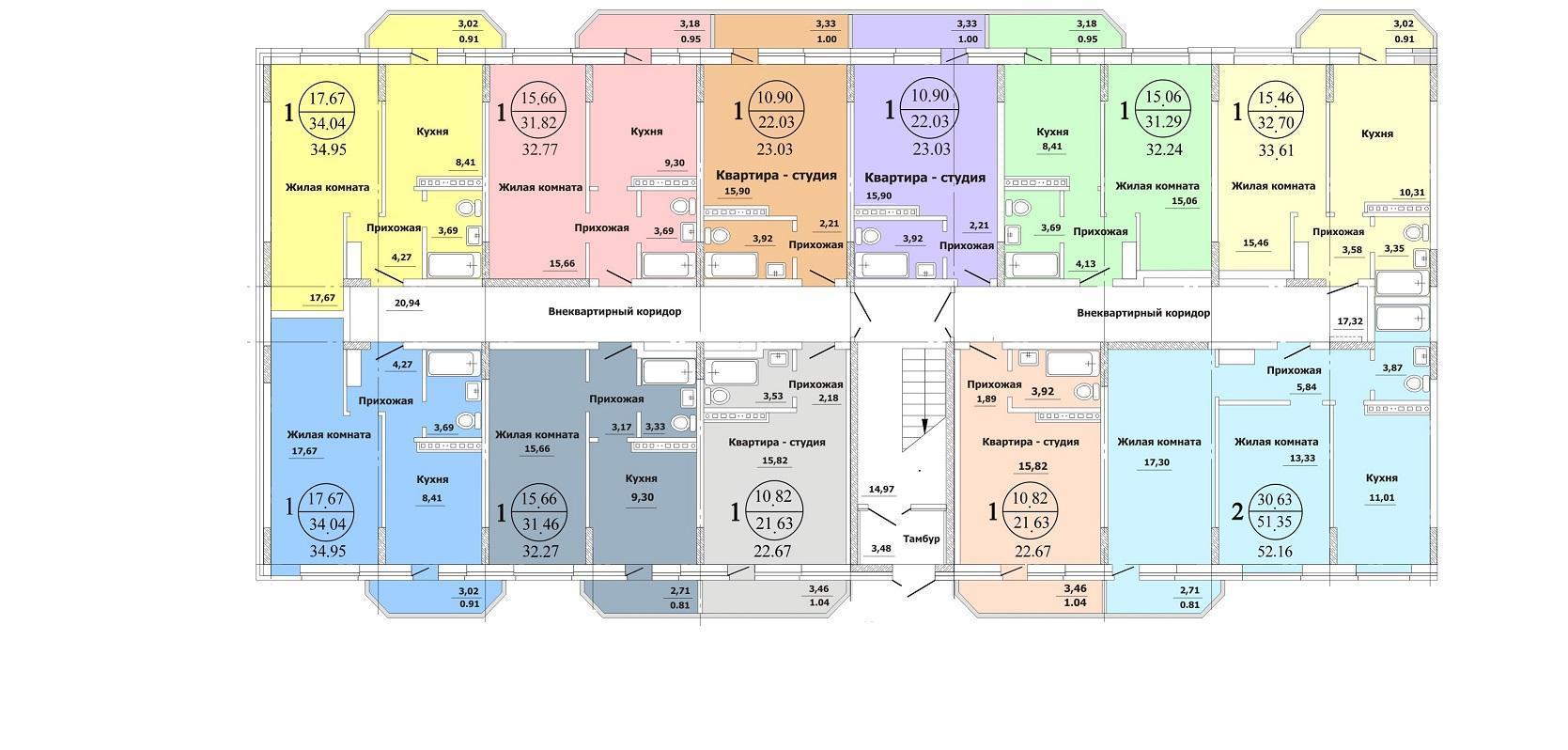 Планировки ЖК Южный-2 Краснодар | план - 1